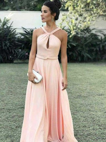 A-Line/Princess Halter Ruffles Sleeveless Chiffon Long Dresses