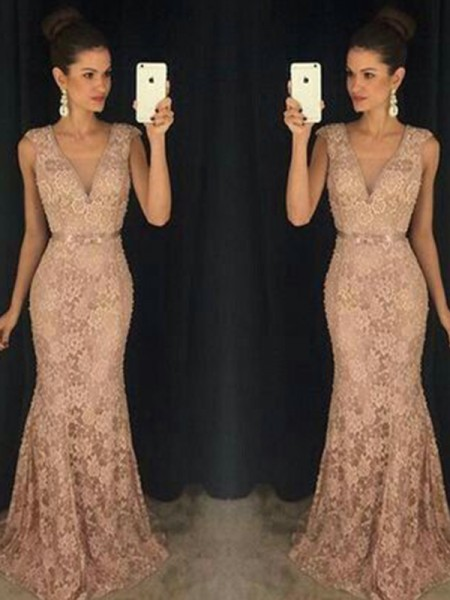 Trumpet/Mermaid V-neck Other Sleeveless Lace Long Dresses