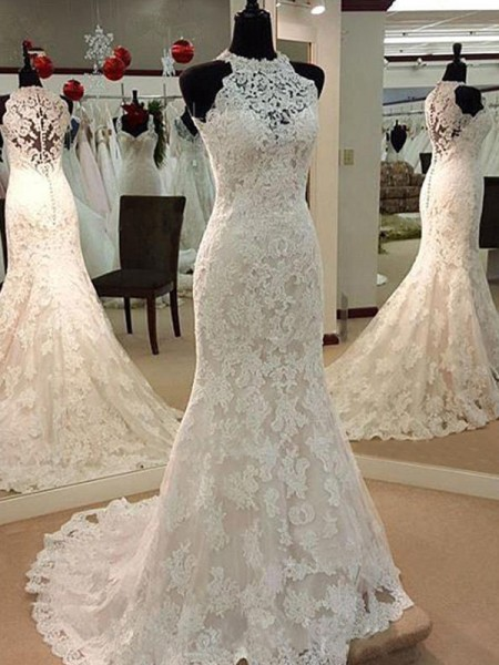 Sheath/Column Scoop Applique Sleeveless Lace Long Wedding Dresses