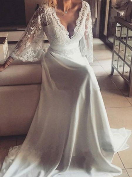 A-Line/Princess V-neck Sash/Ribbon/Belt Long Sleeves Lace Court Train Wedding Dresses