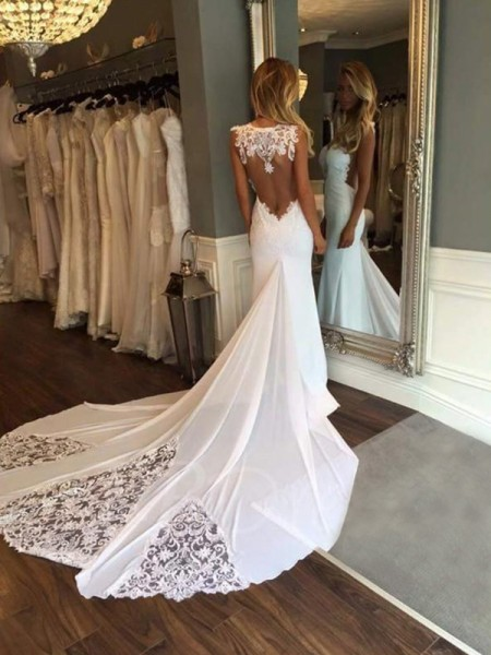 Trumpet/Mermaid Sweetheart Applique Sleeveless Lace Cathedral Train Wedding Dresses