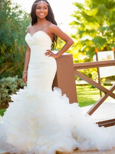 Trumpet/Mermaid Sweetheart Sleeveless Organza Court Train Wedding Dresses