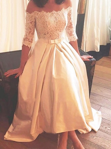 A-Line/Princess Off-the-Shoulder Lace 1/2 Sleeves Satin High Low Wedding Dresses