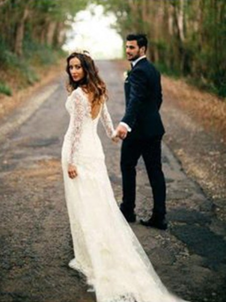 Sheath/Column V-neck Applique Long Sleeves Lace Court Train Wedding Dresses