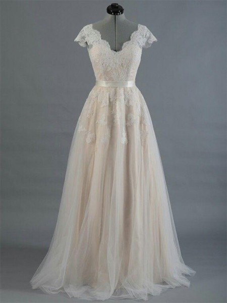 A-Line/Princess V-neck Applique Sleeveless Lace Long Wedding Dresses