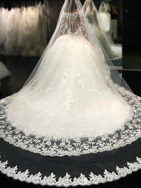 Ball Gown Scoop Lace Long Sleeves Tulle Cathedral Train Wedding Dresses