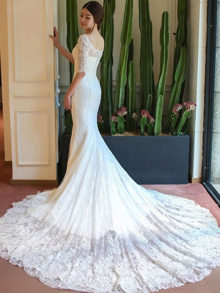 Trumpet/Mermaid Square Applique 1/2 Sleeves Lace Cathedral Train Wedding Dresses