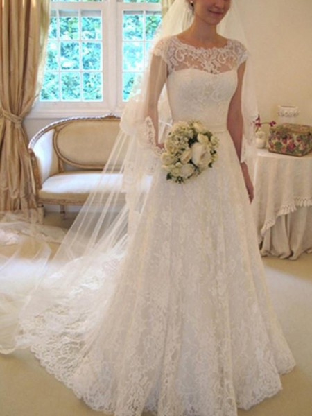 A-Line/Princess Square Applique Short Sleeves Lace Court Train Wedding Dresses