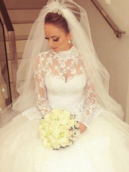 Ball Gown High Neck Long Sleeves Lace Cathedral Train Wedding Dresses