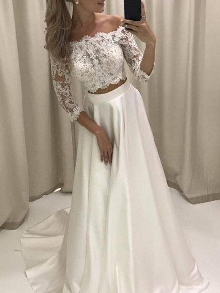 A-Line/Princess Off-the-Shoulder Applique 3/4 Sleeves Satin Court Train Wedding Dresses