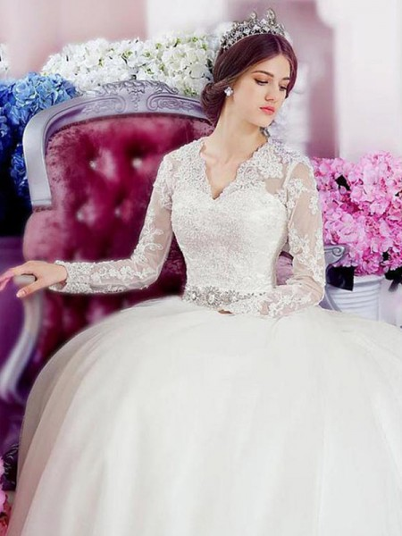 A-Line/Princess V-neck Applique Long Sleeves Tulle Cathedral Train Wedding Dresses
