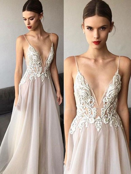 A-Line/Princess V-neck Lace Sleeveless Tulle Long Wedding Dresses