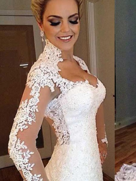 Trumpet/Mermaid V-neck Applique Long Sleeves Lace Long Wedding Dresses