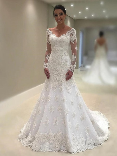 Trumpet-Mermaid V-neck Applique Long Sleeves Lace Court Train Wedding Dresses