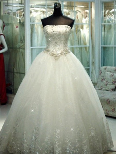 Ball Gown Strapless Beading Sleeveless Tulle Long Wedding Dresses