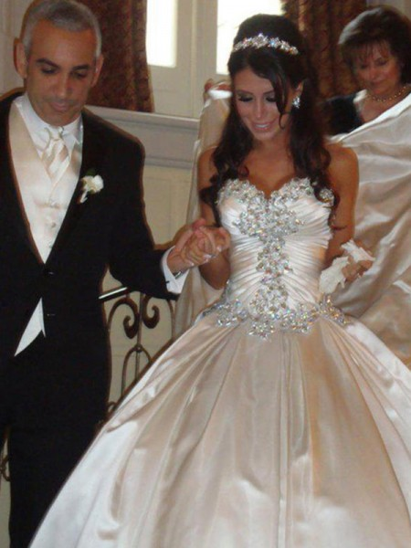 Ball Gown Sweetheart Ruffles Sleeveless Satin Cathedral Train Wedding Dresses