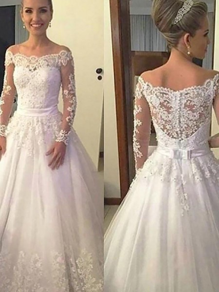 Ball Gown Off-the-Shoulder Applique Long Sleeves Tulle Court Train Wedding Dresses