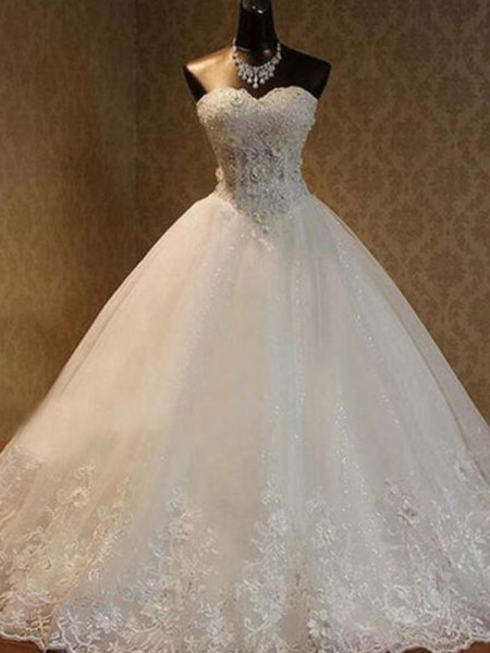 Ball Gown Sweetheart Beading Sleeveless Tulle Long Wedding Dresses