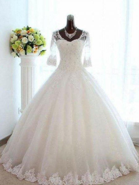 Ball Gown Bateau Beading 3/4 Sleeves Tulle Long Wedding Dresses