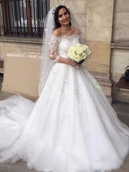 Ball Gown Off-the-Shoulder Applique 3/4 Sleeves Tulle Chapel Train Wedding Dresses