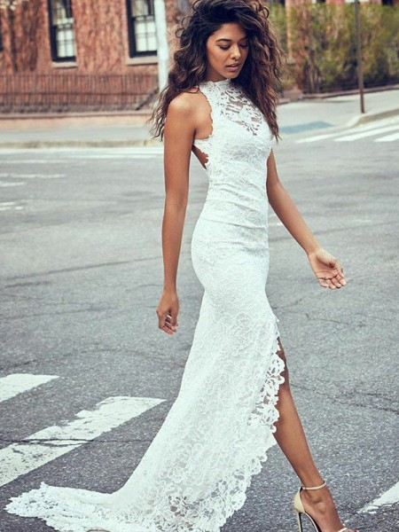 Trumpet/Mermaid Halter Lace Sleeveless Lace Long Wedding Dresses