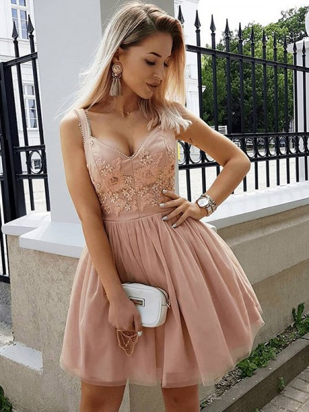 A-Line/Princess Straps Beading Sleeveless Tulle Short Dresses