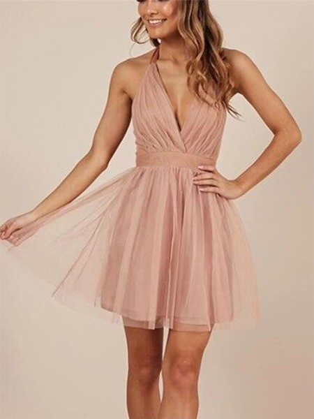 A-Line/Princess Halter Ruffles Sleeveless Tulle Short Dresses