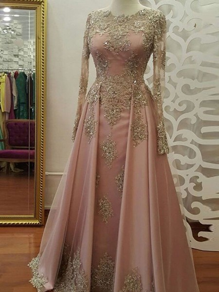 A-Line/Princess Scoop Applique Long Sleeves Tulle Long Muslim Dresses