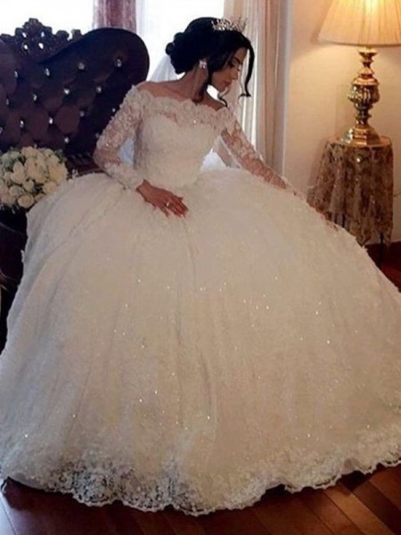 Ball Gown Bateau Lace Long Sleeves Tulle Long Wedding Dresses