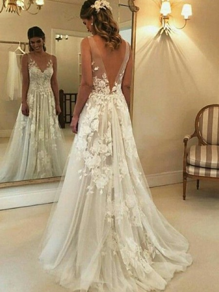 A-Line/Princess V-neck Applique Sleeveless Tulle Long Wedding Dresses
