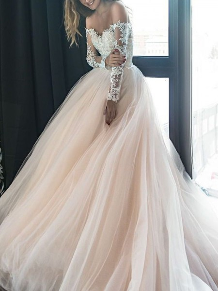 A-Line/Princess Off-the-Shoulder Applique Long Sleeves Tulle Court Train Wedding Dresses