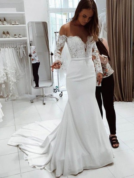 Trumpet/Mermaid Off-the-Shoulder Lace Long Sleeves Chiffon Court Train Wedding Dresses