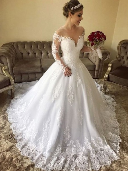 Ball Gown Off-the-Shoulder Lace Long Sleeves Tulle Long Wedding Dresses