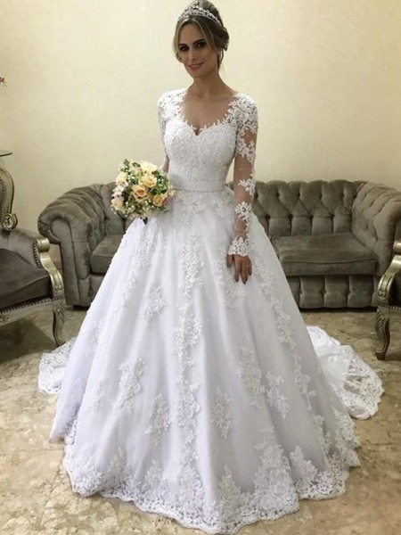 Ball Gown V-neck Applique Long Sleeves Satin Court Train Wedding Dresses