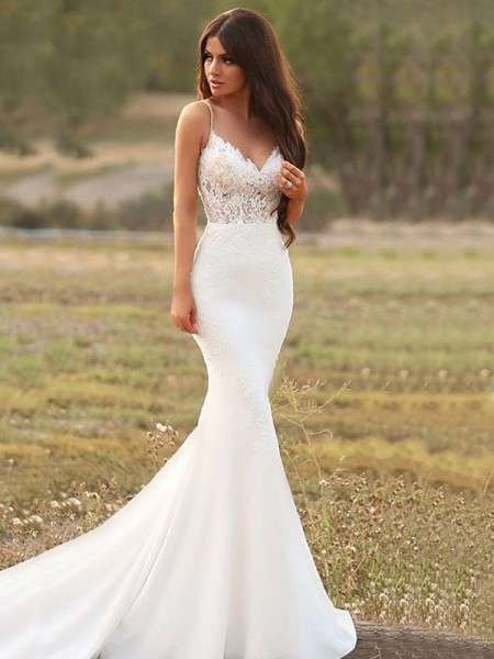 Trumpet/Mermaid Spaghetti Straps Applique Sleeveless Satin Long Wedding Dresses