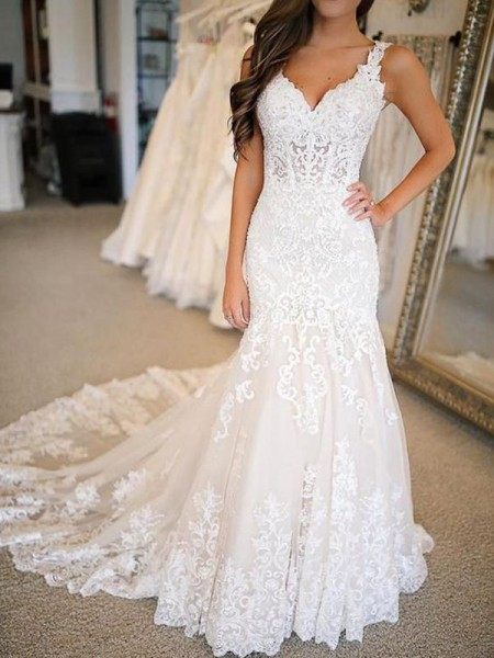 Trumpet/Mermaid V-neck Applique Sleeveless Tulle Long Wedding Dresses