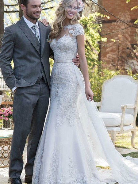 Trumpet/Mermaid Bateau Sash/Ribbon/Belt Short Sleeves Tulle Long Wedding Dresses