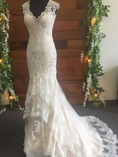 Trumpet/Mermaid V-neck Lace Sleeveless Tulle Long Wedding Dresses