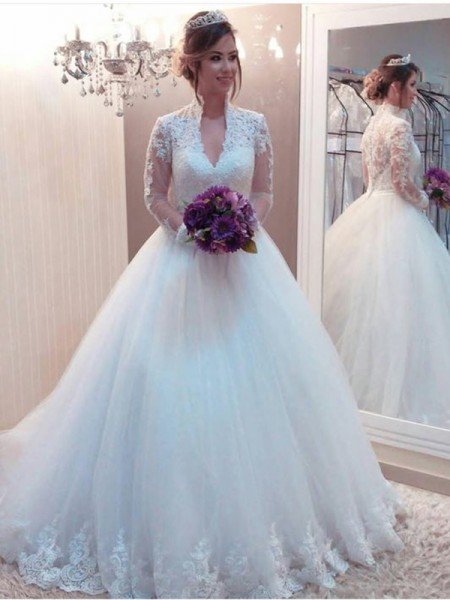 Ball Gown High Neck Applique Long Sleeves Tulle Long Wedding Dresses