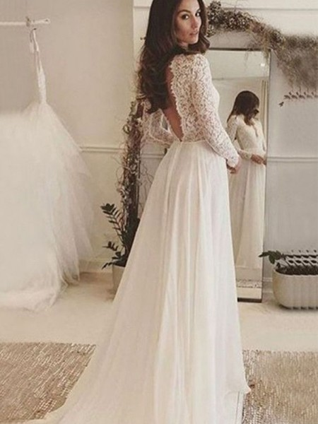 A-Line/Princess Scoop Lace Long Sleeves Chiffon Long Wedding Dresses