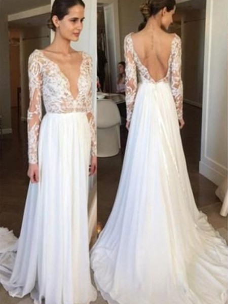 A-Line/Princess V-neck Lace Long Sleeves Chiffon Long Wedding Dresses