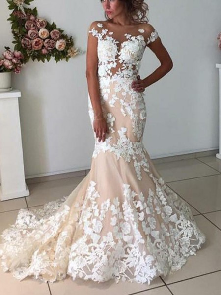 Trumpet/Mermaid Bateau Applique Short Sleeves Tulle Long Wedding Dresses
