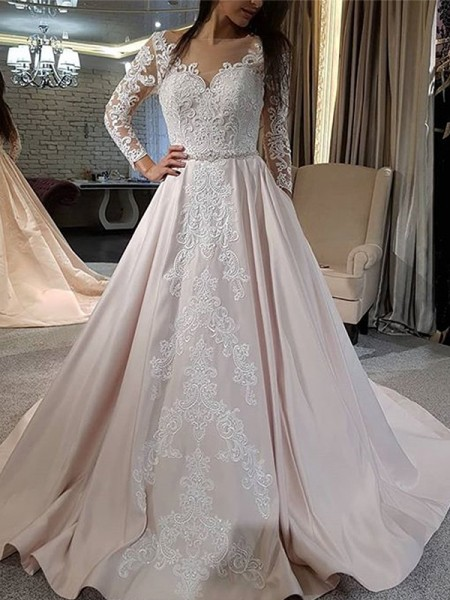 A-Line/Princess V-neck Applique Long Sleeves Satin Long Wedding Dresses