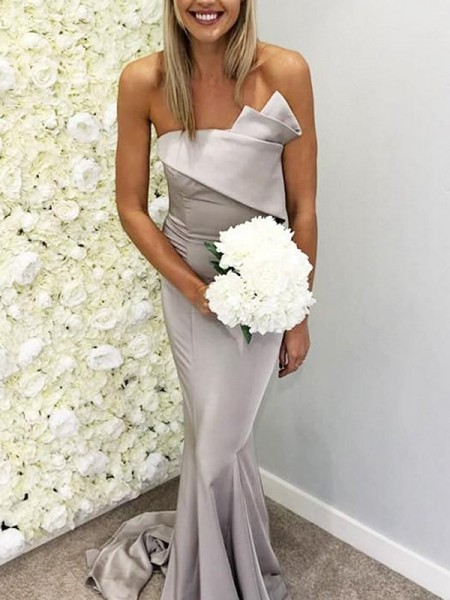 Trumpet/Mermaid Strapless Ruffles Sleeveless Satin Long Bridesmaid Dresses