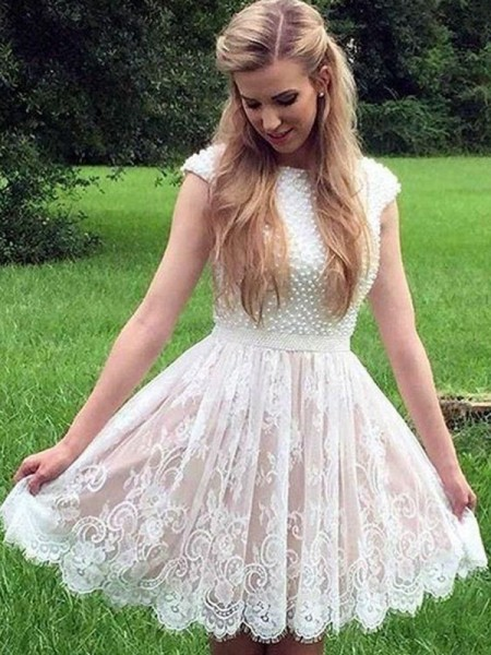 A-Line/Princess Sheer Neck Pearls Sleeveless Lace Short Dresses