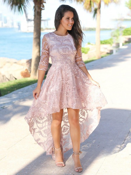 A-Line/Princess Sheer Neck Applique 3/4 Sleeves Satin High Low Dresses