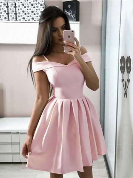A-Line/Princess Off-the-Shoulder Ruffles Sleeveless Satin Short Dresses