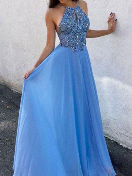 A-Line/Princess Sleeveless Beading Chiffon Halter Floor-Length Dresses