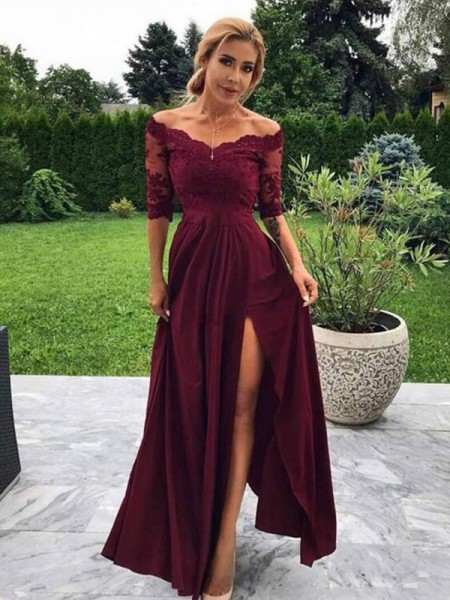 A-Line/Princess 1/2 Sleeves Applique Satin Off-the-Shoulder Floor-Length Dresses