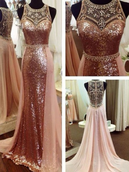 A-Line/Princess Sleeveless Beading Sequins Scoop Sweep/Brush Train Dresses